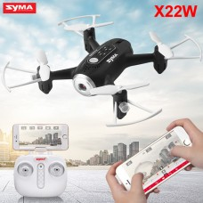 Syma X22W With Wifi FPV HD Camera Real-time Transmission 2.4G 4CH 6Axis Barometer Set Height Headless Mode Flight Track Mini RC Quadcopter Black