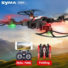 Syma X56W With Wifi FPV HD Camera 2.4G 4CH 6Axis Barometer Set Height Headless Mode Flight Track Somatosensory Operation Operate By Phone Onekey Take Off And Land RC Quadcopter Black
