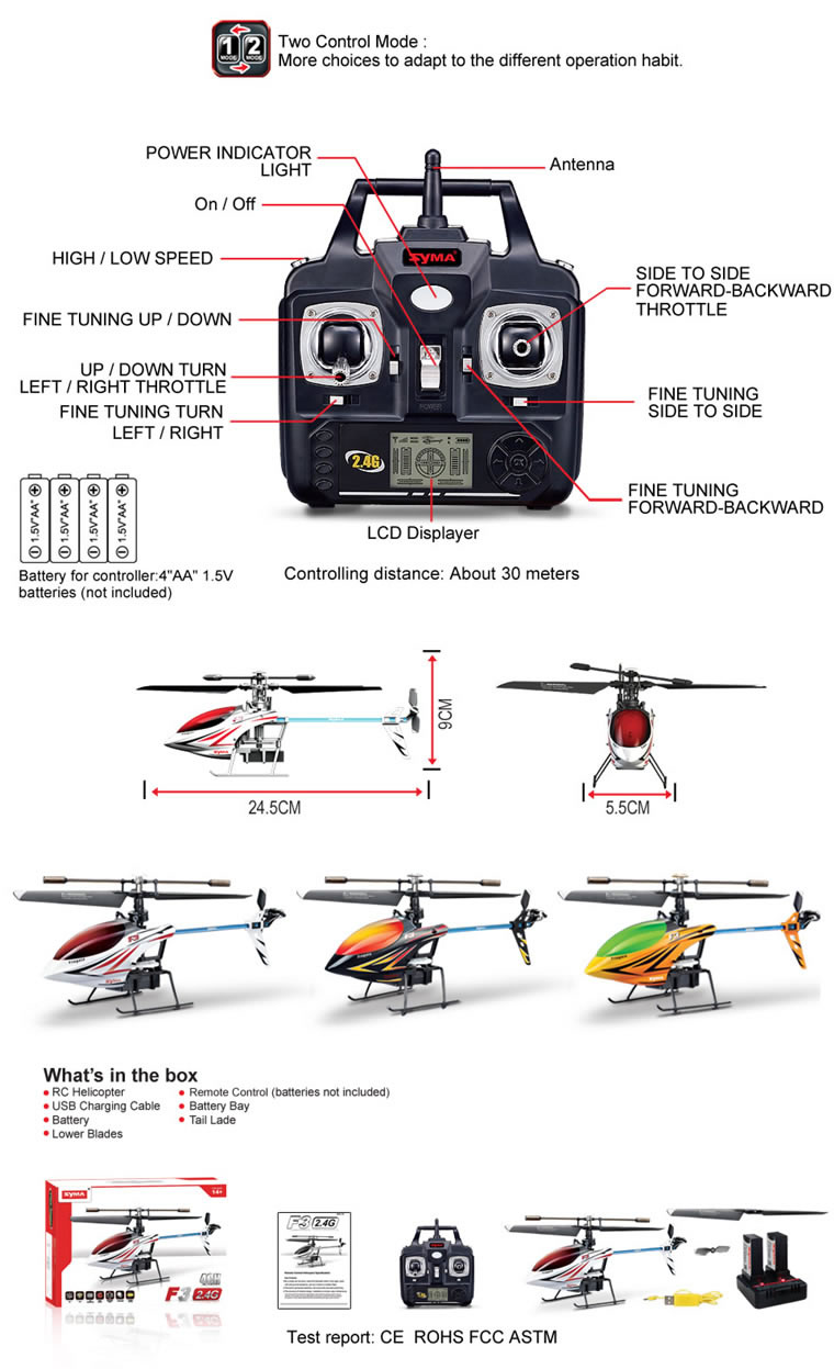 Syma F3 4-channel 2.4G single rotor helicopter White