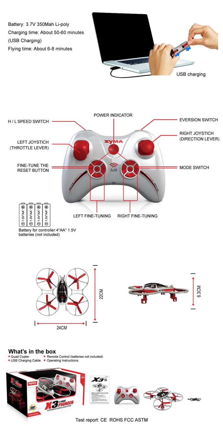 Syma X3 2.4G 4-ch remote control quad copter (Red)