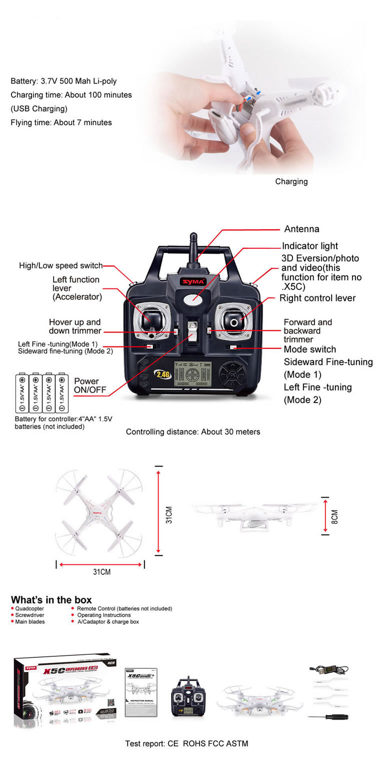 Syma X5C 2.4G 4-Channel QuadCopter (HD CAM)