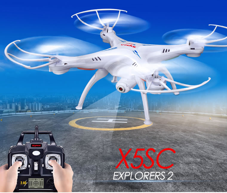 Syma X5SC Headless Mode 2.4G 4-Channel QuadCopter (HD CAM) White