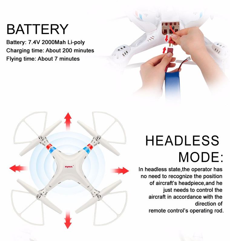 Syma X8C Venture with 2MP 5MP Wide Angle Camera 2.4G 4CH RC Quadcopter White