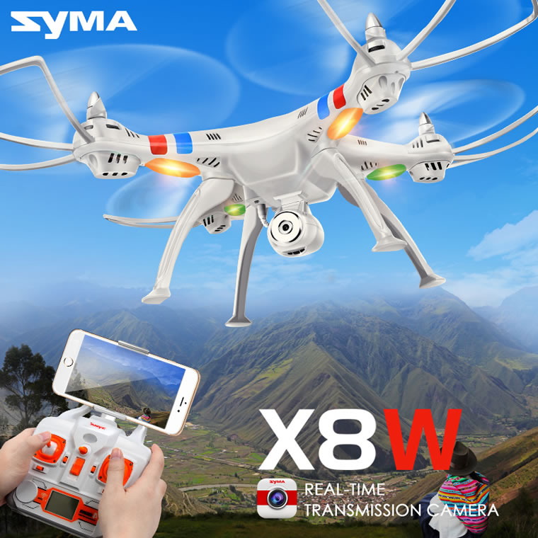 Syma X8W Wifi FPV Real-time 2.4G QuadCopter (HD CAM) Black